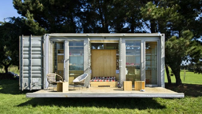 Portable container homes with porch