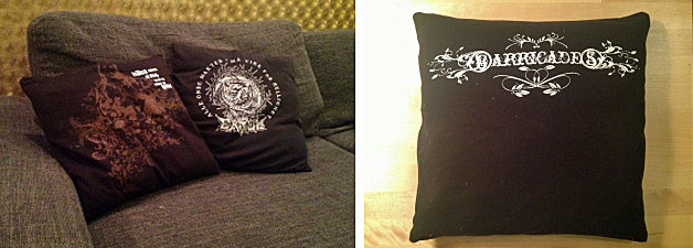 Pillows from bandshirts