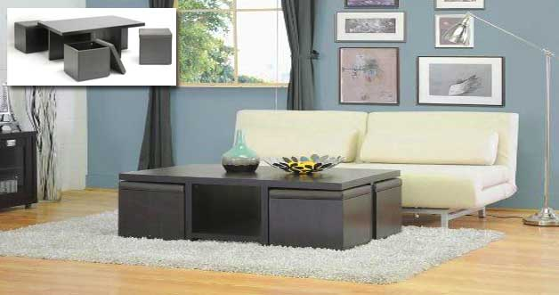 15 Another Cool Coffee Table With 4 Small Stools