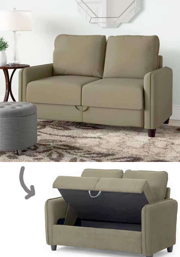 Easily Fit Several Storage Boxes Inside It Even Though Its A Small Sofa For Two People Just Great For Newly Married Couples In A Small Apartment Or