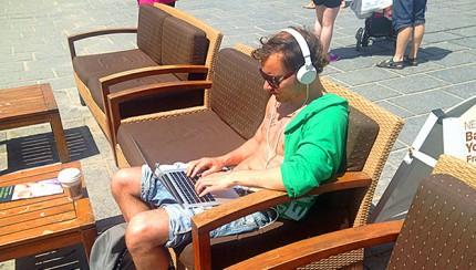 Me working from Starbucks on Crete