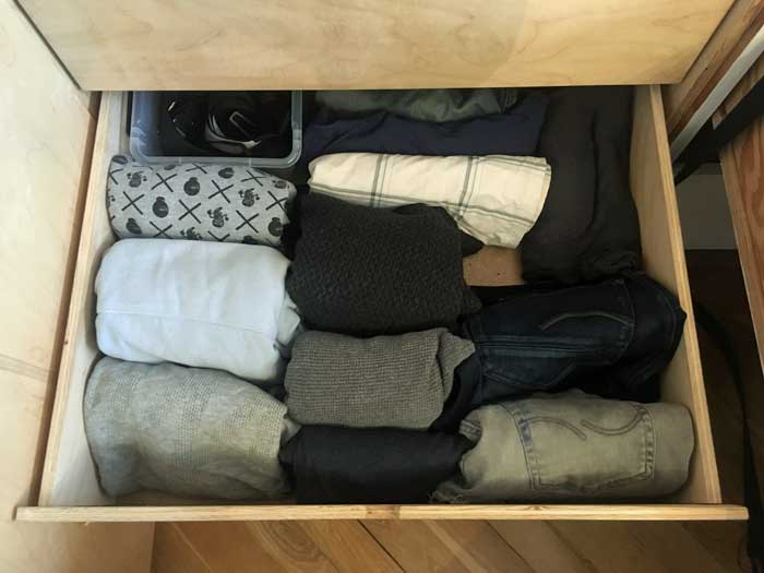Shirt, Pullovers and Pants nicely organized and downsized
