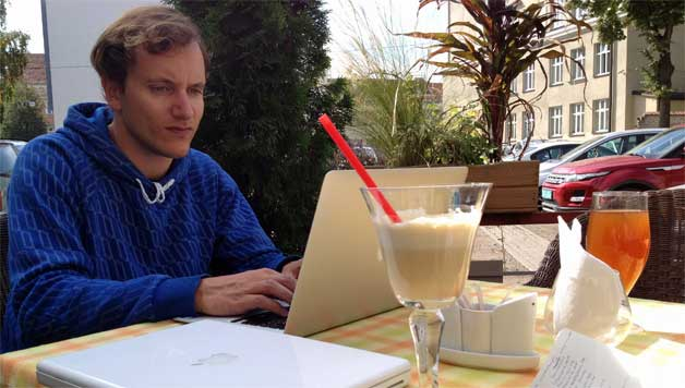 Me working at at cafe in Vilnius, Lithuania