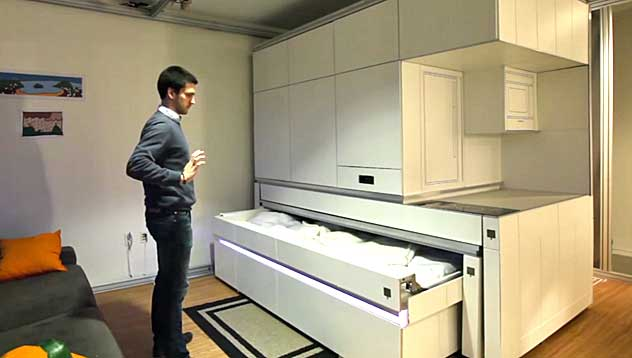 Sliding Walls and Gesture Operated Furniture (video)