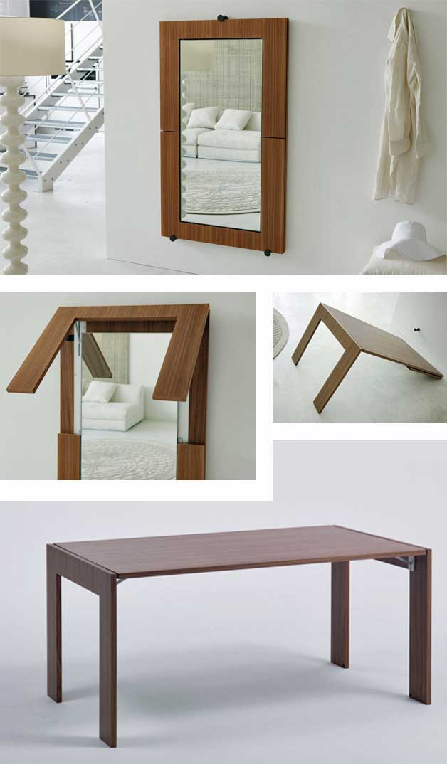 Wall table with mirror (multifunctional furniture)