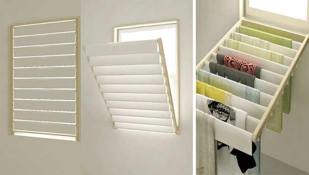 Window frame mounted drying rack