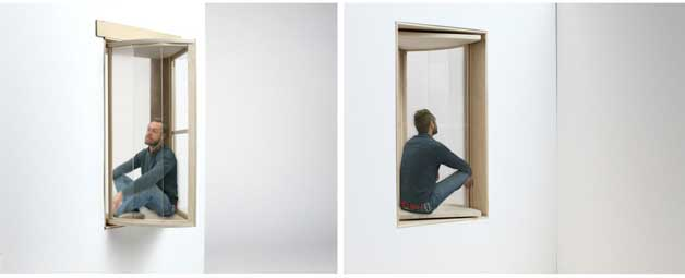 Sit In Window fold-out window adds more space to the tiny apartment
