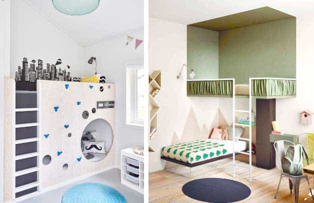 The Bed On The Left Double Function As Play Area And Bed, And The Other Bed  Leaves Room For Another Bed Below And Storage. Both Solutions Adds To A  Cozy And ...