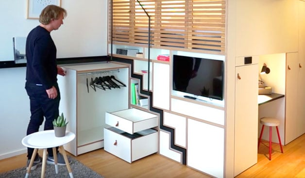 Zoku house with storage inside the wall