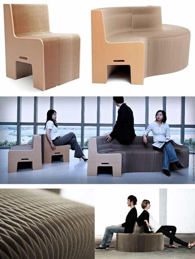 Cardboard seat will seat 12 people.