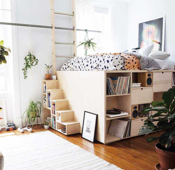 Sleeping loft for a small apartment space