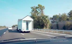 Tiny house on the road being towed