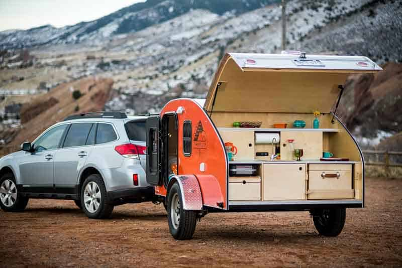Red teardrop trailer back opened