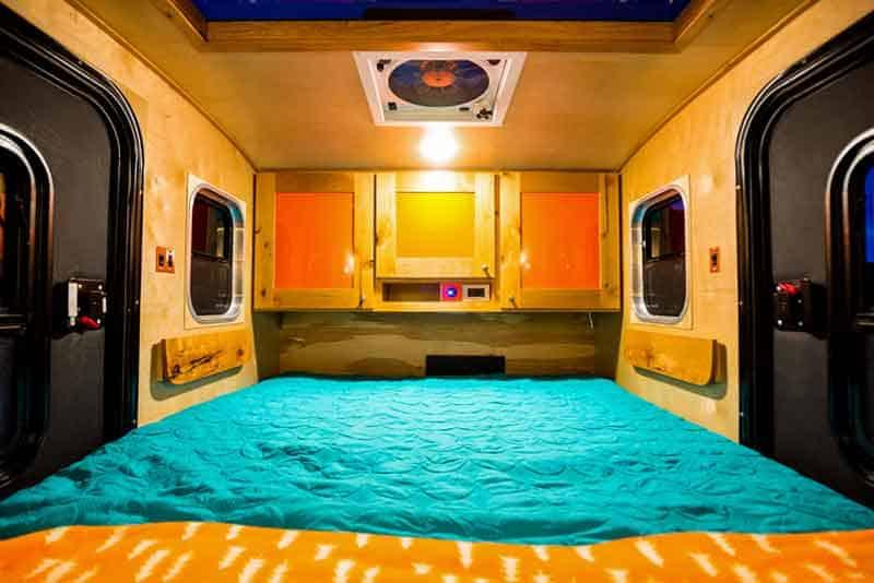Shot inside cabin (sleeping area)