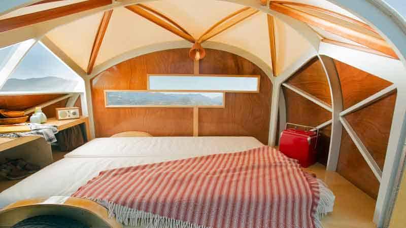 The bed inside the hutte camper