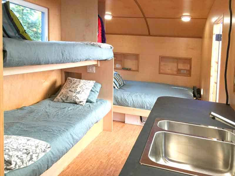 Inside the timberland trailer camper
