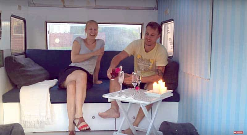 Inside our tiny camper wagon
