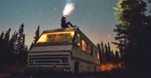 vintage RV parking at night