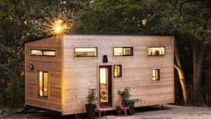 Tiny house with wooden panels