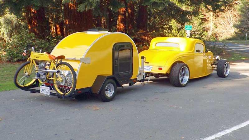 Yellow tiny camper