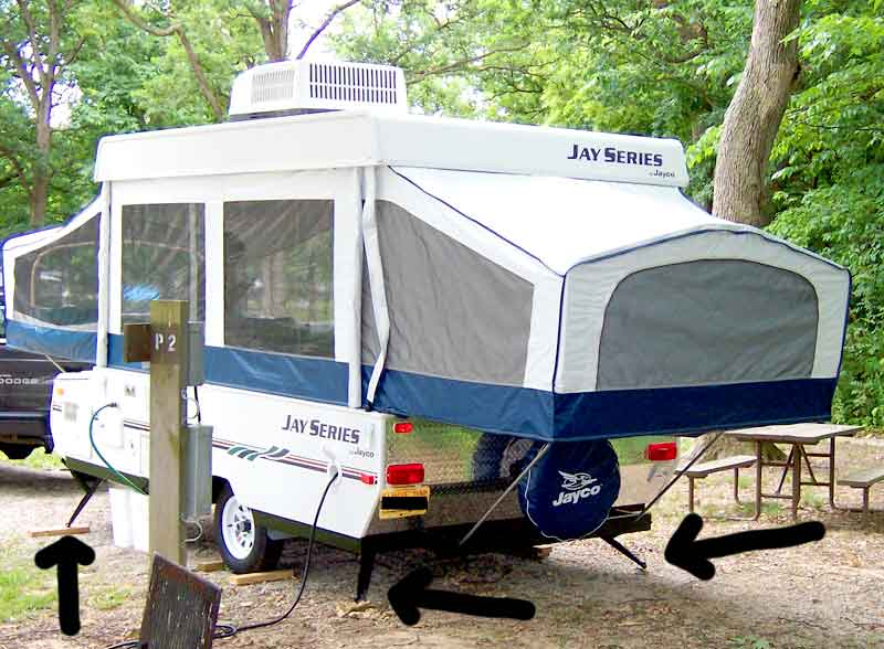 Popup camper with jacks