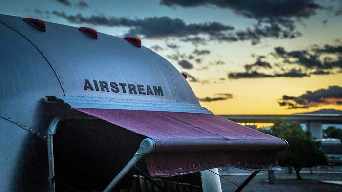 Airstream with sharp metal edges around awning