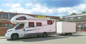 Motorhome parked in driveway on private street