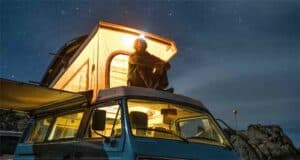 Sitting on the roof of a campervan