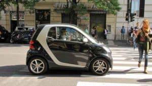 Smart car driving inside city