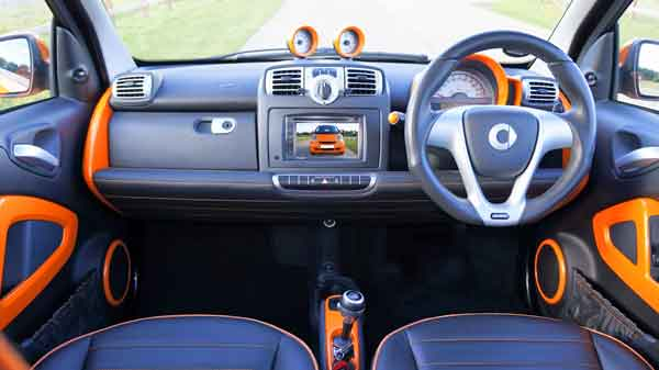 Inside the Smart car from drivers perspective