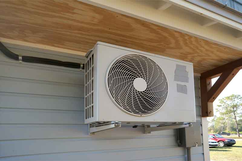 Air condition heat pump compressor unit outside