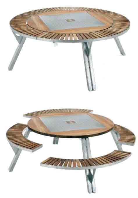 Bench can lower part of the tabletop to create seating for 8 people