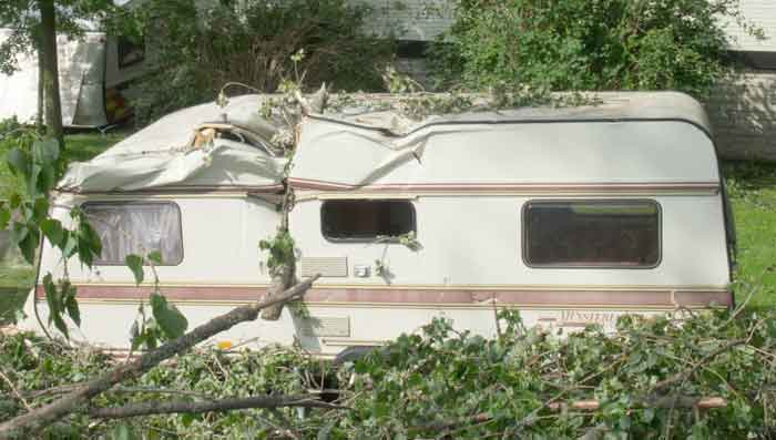 Damaged RV camper trailer