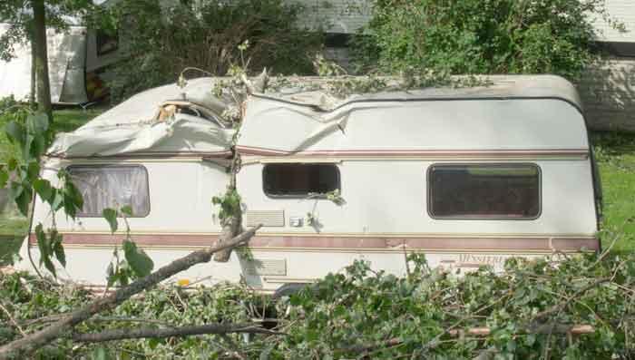 Damaged RV camper trailer