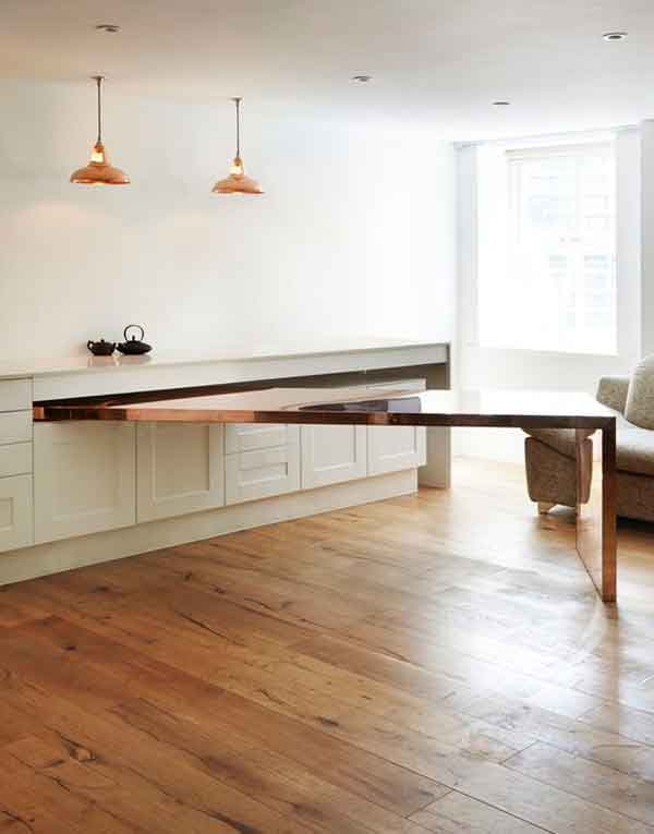 Kitchen counter hides a dining table