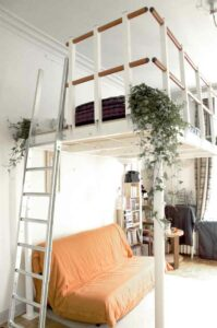 Free-standing Mezzanine with a sleeping loft