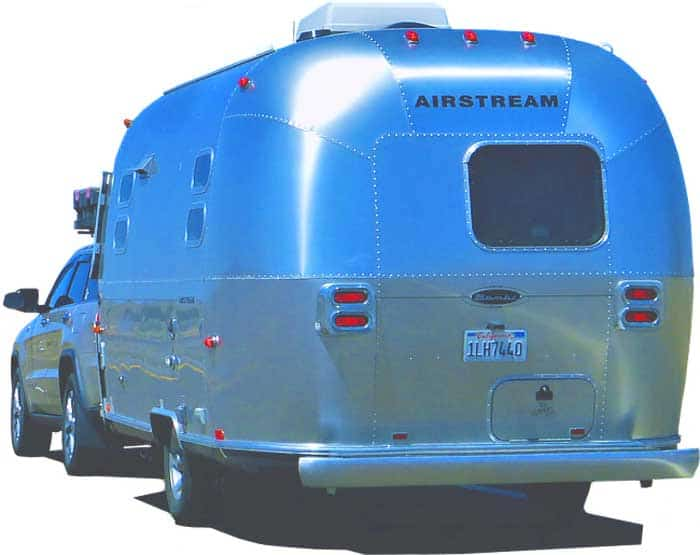 Airstream Trailer leaving behind a truck