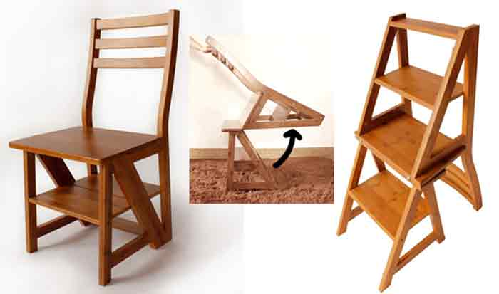 Chair can fold and transform into a 3-step ladder