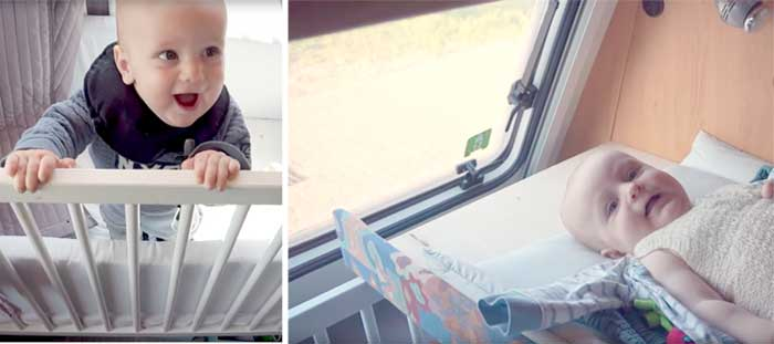 Change station in caravan with baby being happy in his crib