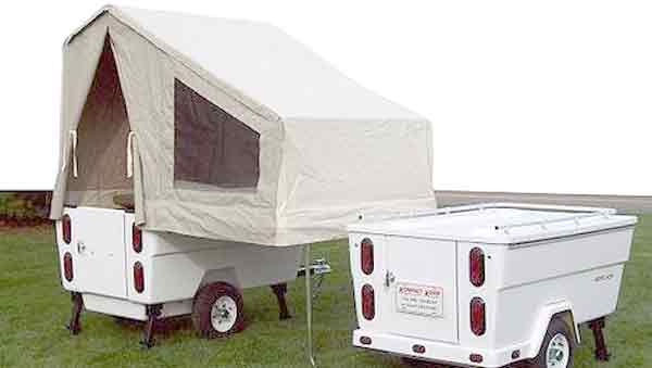 Mini mate camper with sleeping area in tent for bikers