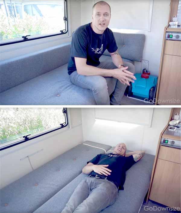 Modern sofa bed installed in vintage camper
