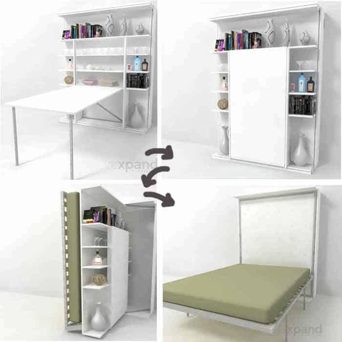Queen size bed and bookshelf in one