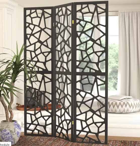 Room divider to create atmosphere in studio apartment