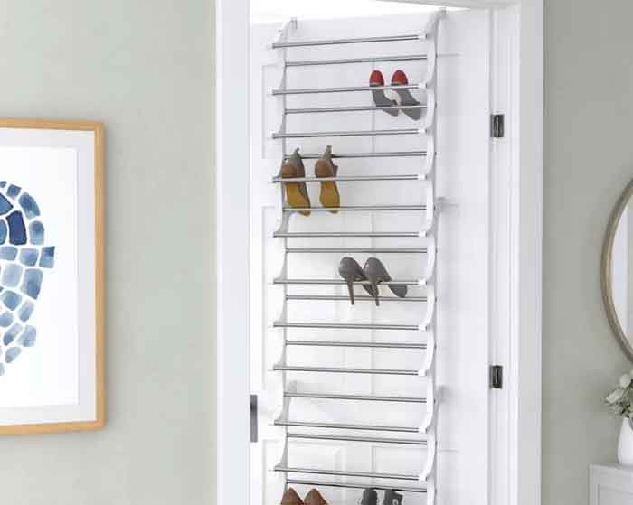 Shoes on door storage organizer