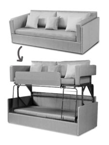 Sofa and bunk bed solution build together (foldable)