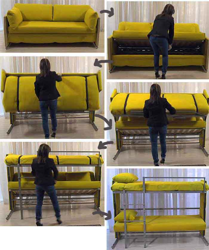 Sofa morphes into a Bunk bed for two people
