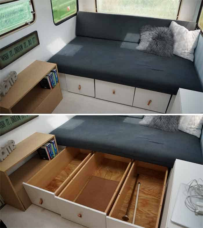 Storage drawers underneath bed in tiny camper