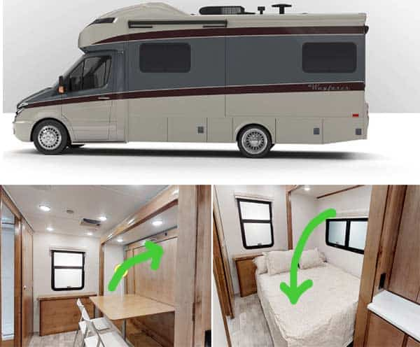 Tiffin RV with Murphy bed with table mounted on back