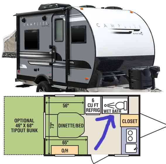 hardsided camper with toilet