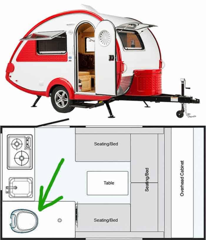 Nucamp teardrop trailer with toilet amenities